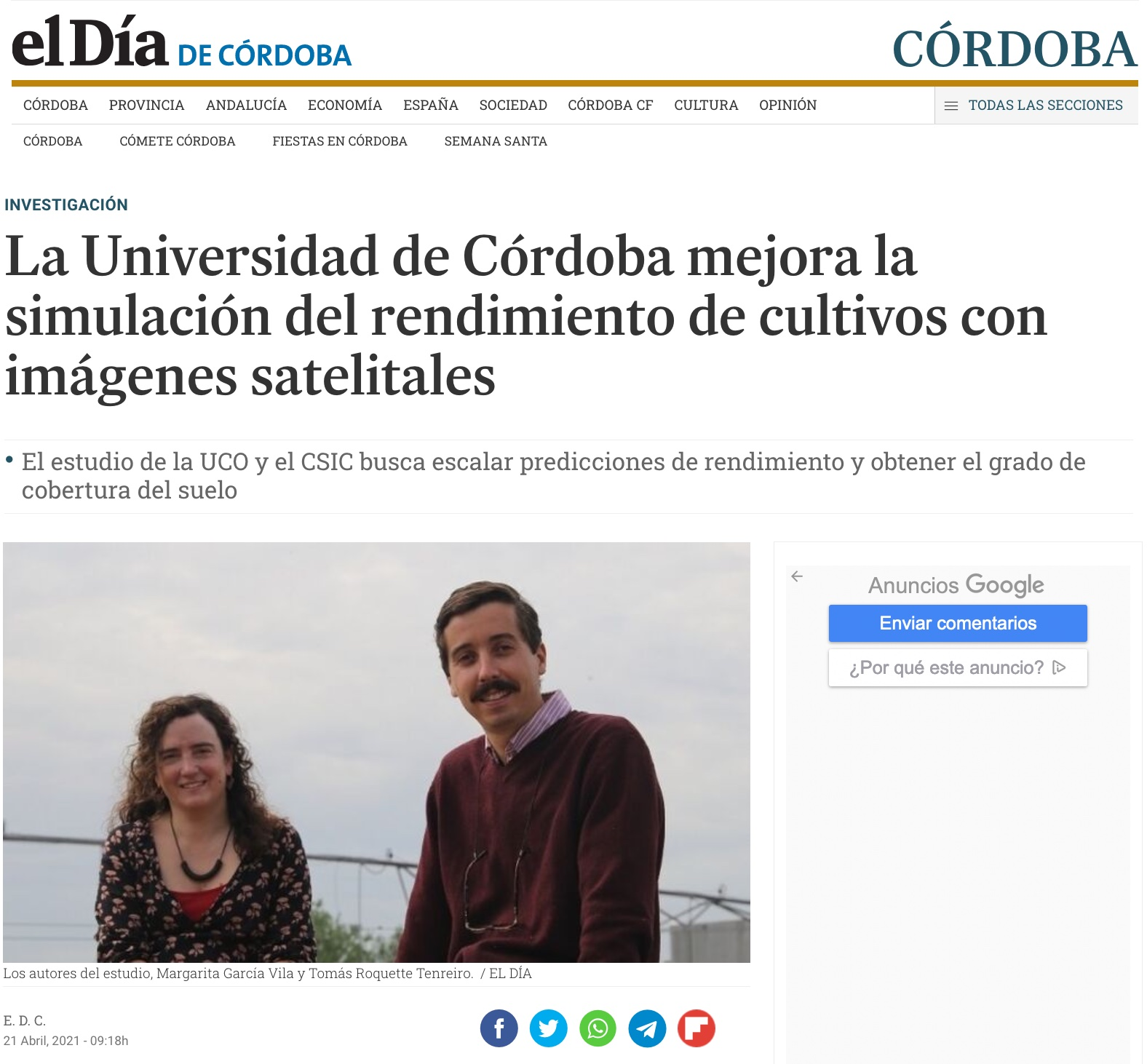 The University of Córdoba improves simulation of crop yield with satellite images
